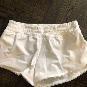 White lululemon running shorts